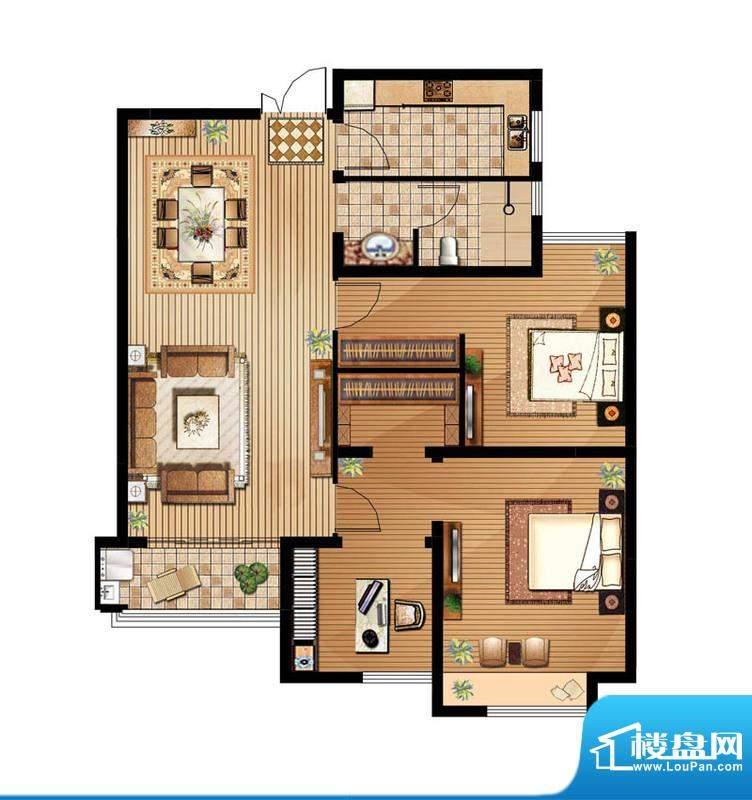 绿地白金汉宫户型图A2户型 2室面积:100.30平米