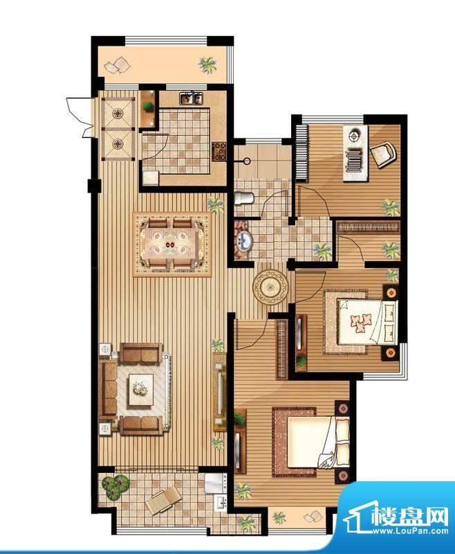 绿地白金汉宫户型图B1户型 3室面积:118.26平米