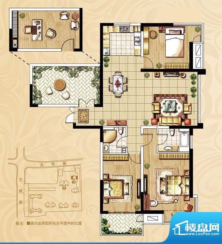 国泰名都户型图浪漫名邸D户型 面积:133.00平米