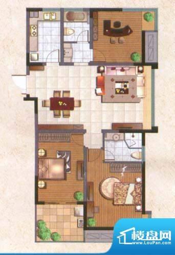 国泰名都户型图舒适3房 3室2厅面积:125.00平米