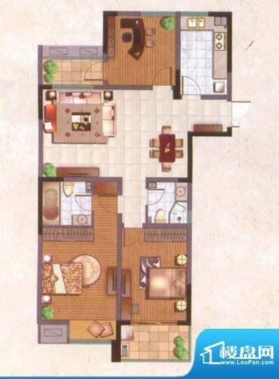 国泰名都户型图精致3房 3室2厅面积:117.00平米