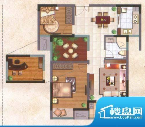 国泰名都户型图实用2+1房 2室2面积:84.00平米