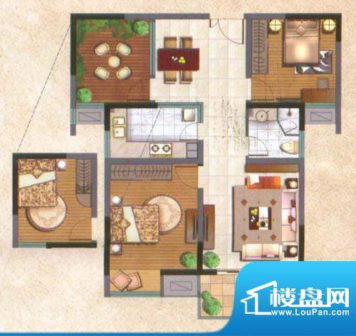 国泰名都户型图锋尚1房 1室2厅面积:68.00平米