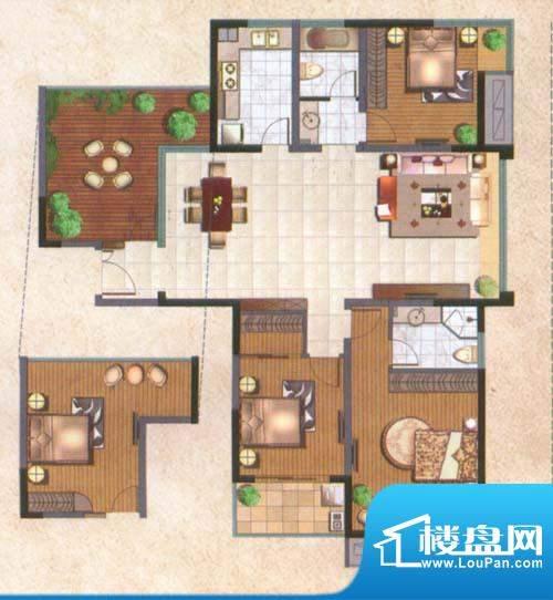 国泰名都户型图尊贵4房 4室2厅面积:138.00平米