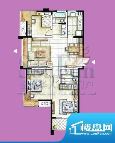 国泰名都户型图C2 3室2厅2卫1厨面积:125.86平米