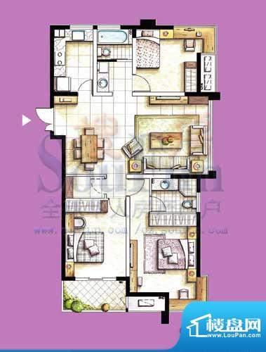 国泰名都户型图C1 3室2厅2卫1厨面积:125.78平米