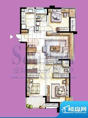 国泰名都户型图D1 3室2厅2卫1厨面积:124.26平米