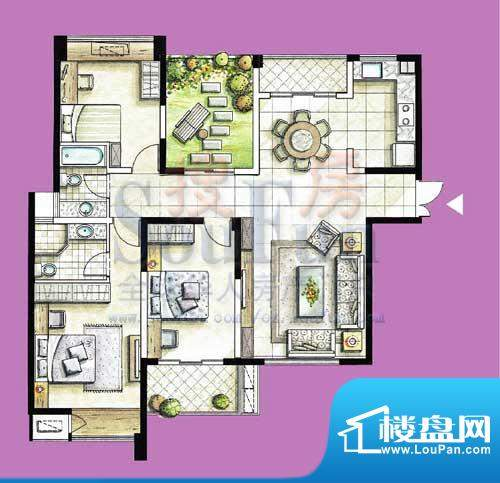 国泰名都户型图D3 3室2厅2卫1厨面积:141.58平米