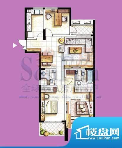 国泰名都户型图C3 3室2厅2卫1厨面积:123.33平米