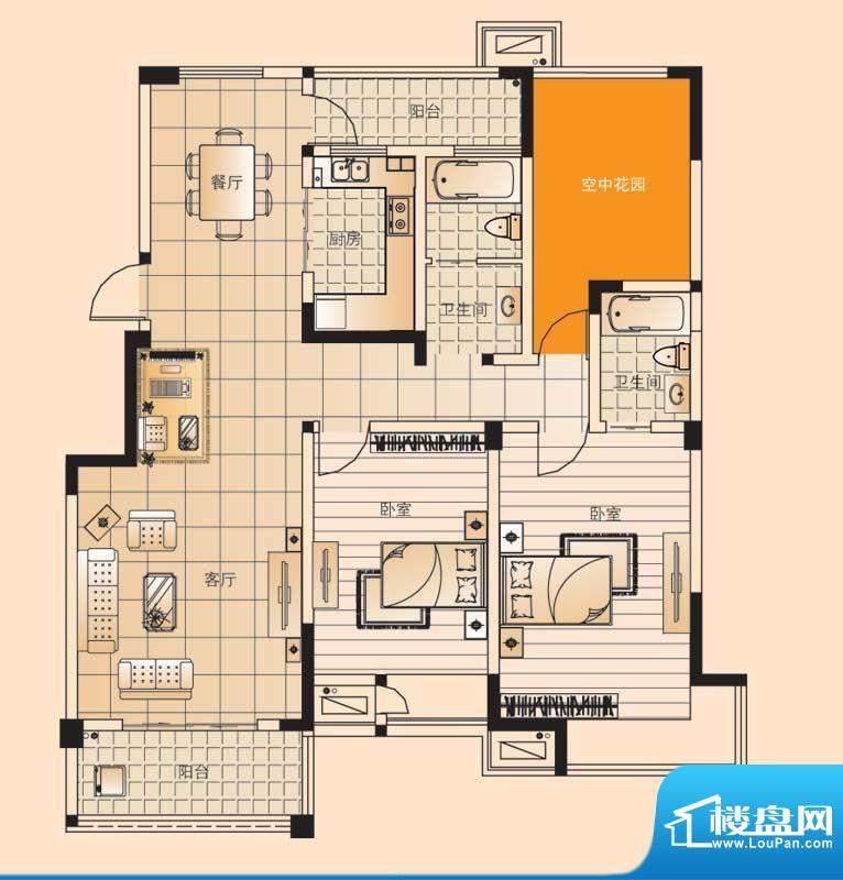 翡翠珑湾户型图小高层D3户型 2面积:130.71平米