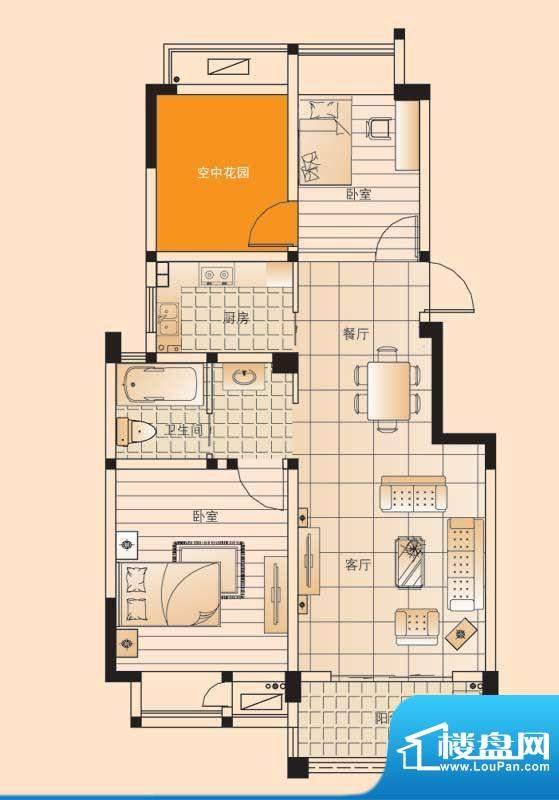 翡翠珑湾户型图小高层E1户型 2面积:85.57平米