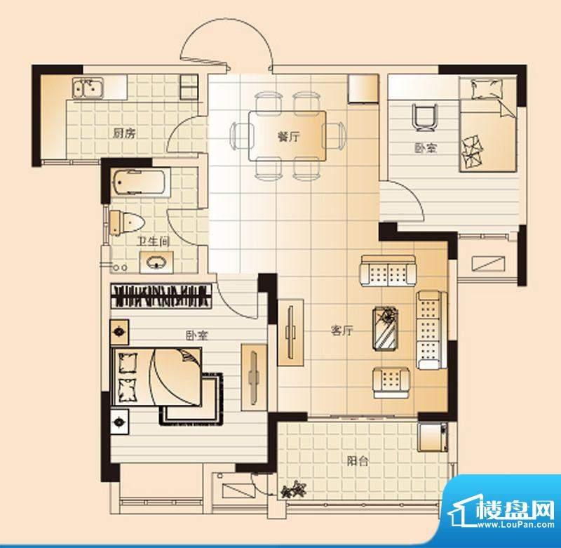 翡翠珑湾户型图G3户型 2室2厅1面积:86.95平米