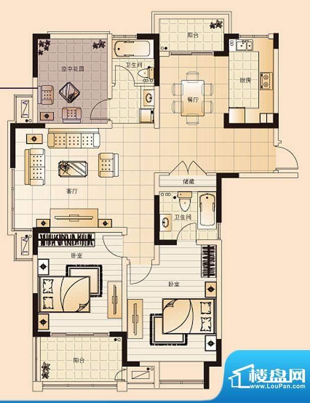 翡翠珑湾户型图H1户型 3室2厅2面积:130.66平米