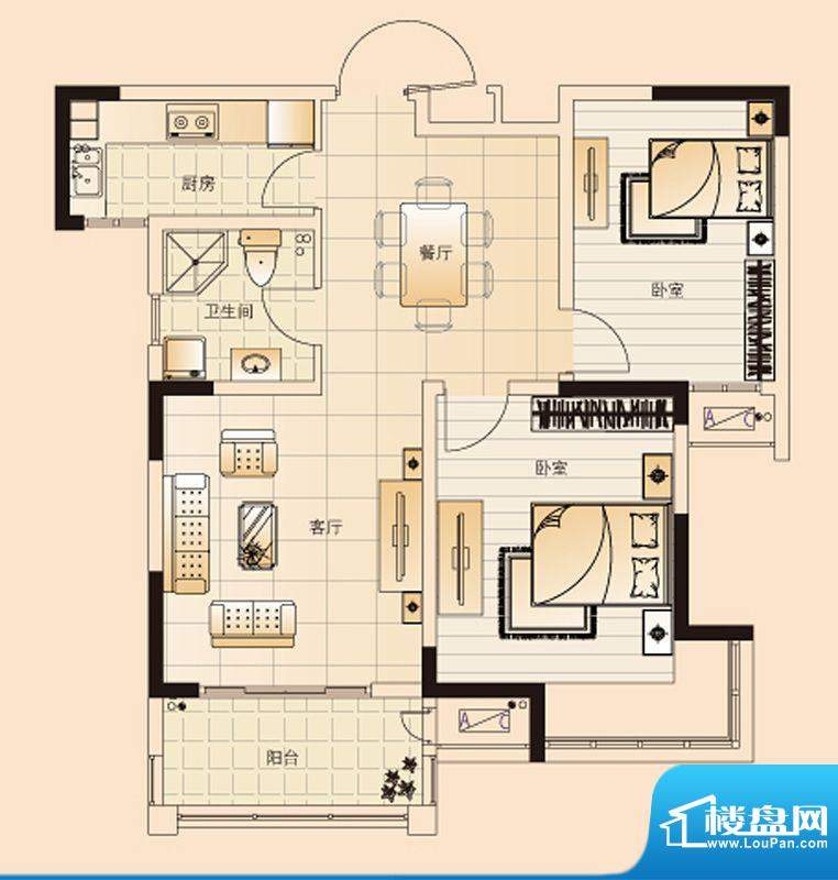 翡翠珑湾户型图H2户型 2室2厅1面积:85.68平米