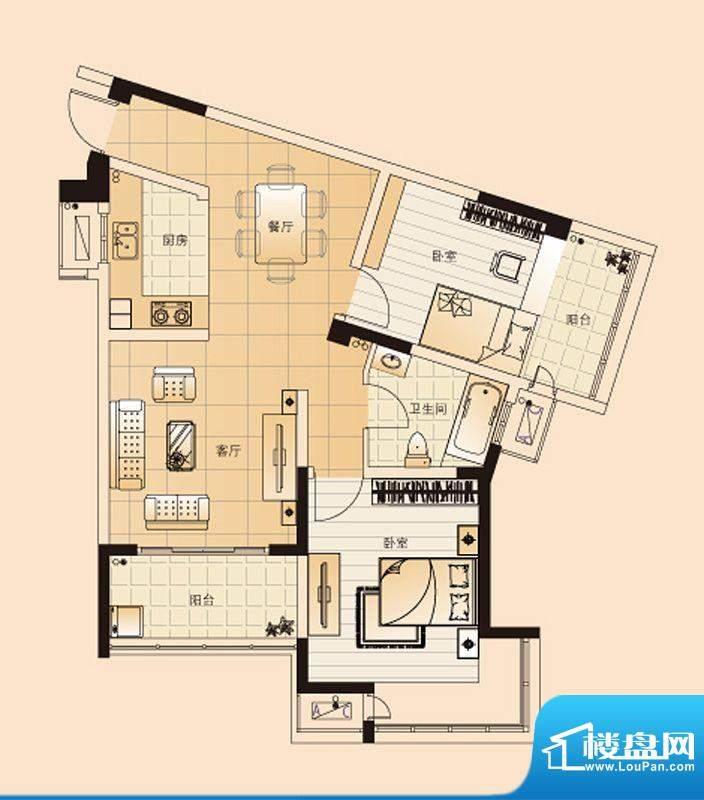 翡翠珑湾户型图H6户型 2室2厅1面积:85.55平米