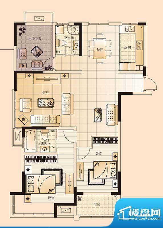 翡翠珑湾户型图G1户型 3室2厅2面积:128.37平米