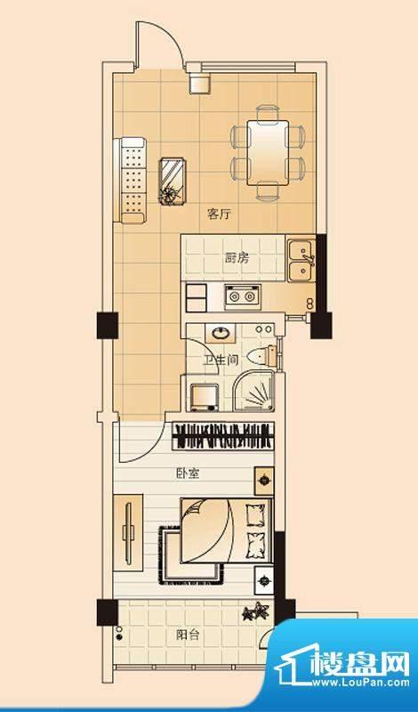 翡翠珑湾户型图H7户型 1室1厅1面积:50.66平米