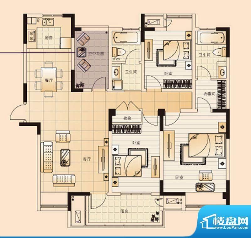 翡翠珑湾户型图H3户型 4室2厅2面积:137.74平米