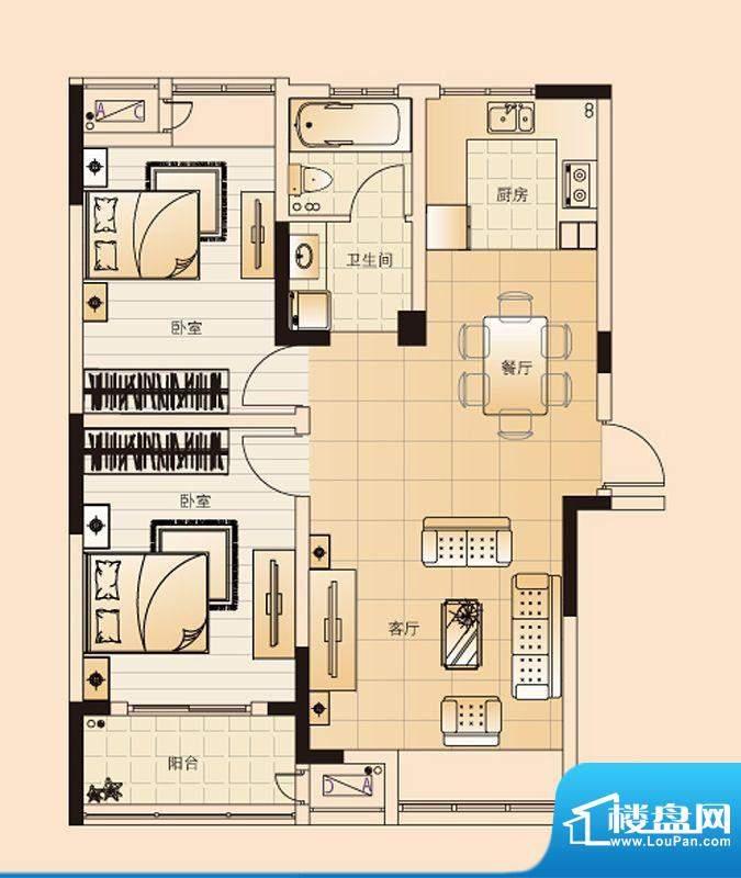 翡翠珑湾户型图H4户型 2室2厅1面积:85.56平米