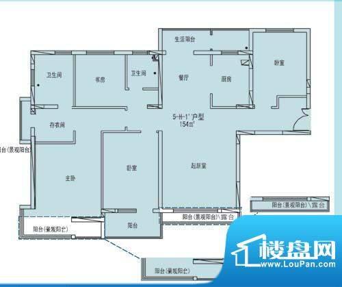 凯纳华侨城户型图E-3-1户型 5室面积:154.00平米
