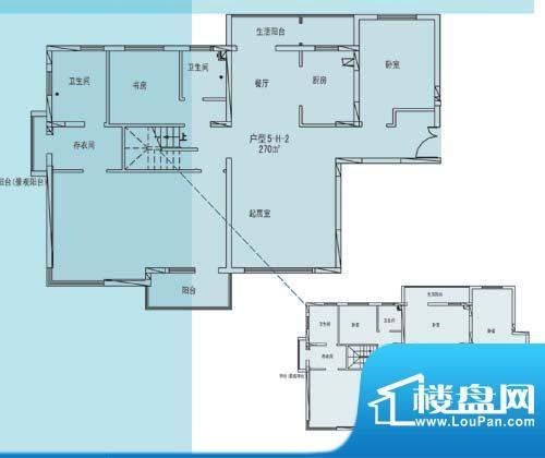 凯纳华侨城户型图E-3-7户型 7室面积:270.00平米