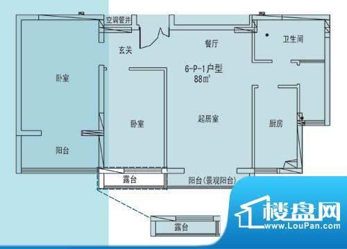凯纳华侨城户型图F-2-1户型 2室面积:88.00平米