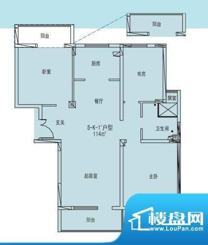 凯纳华侨城户型图E-1-4户型 3室面积:114.00平米