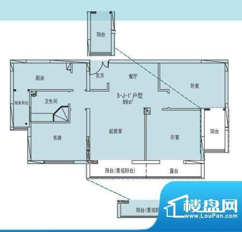 凯纳华侨城户型图E-1-1户型 3室面积:99.00平米