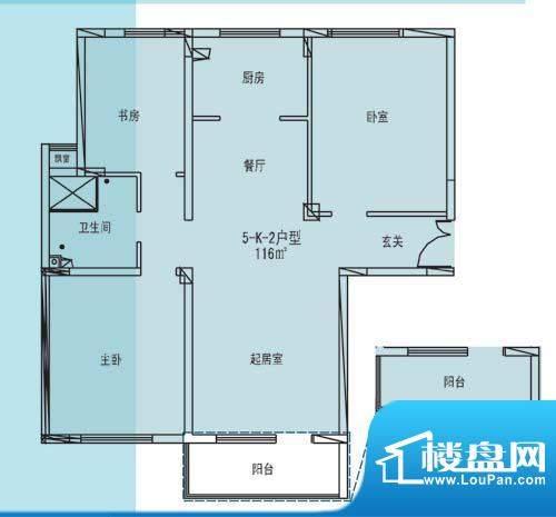凯纳华侨城户型图D-3-1户型 3室面积:116.00平米