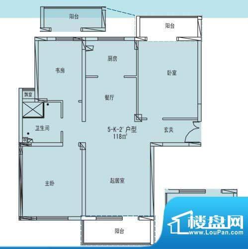 凯纳华侨城户型图D-3-2户型 3室面积:118.00平米