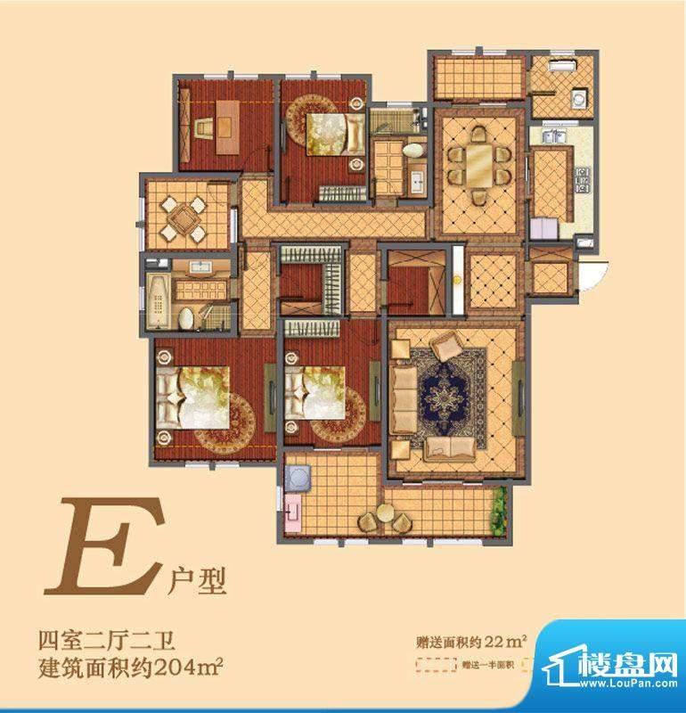 凯悦中心户型图E户型 4室2厅2卫面积:204.00平米