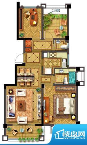 聚湖半岛户型图F户型 2室2厅2卫面积:88.00平米