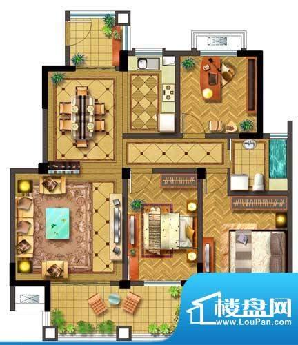 聚湖半岛户型图G户型 3室2厅1卫面积:117.00平米