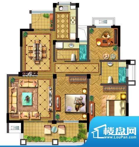 聚湖半岛户型图H户型 3室2厅2卫面积:129.00平米