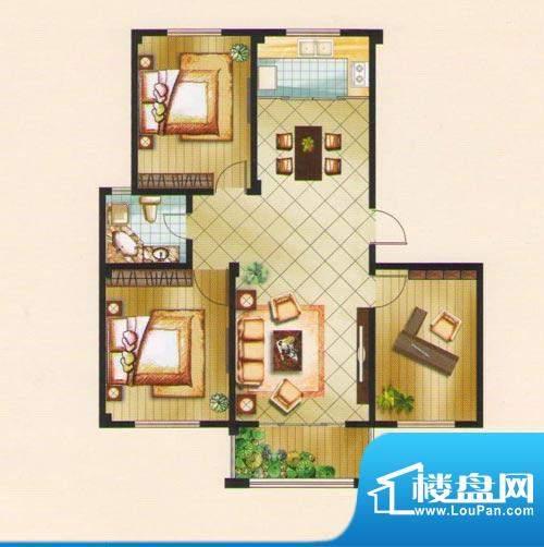 名城景园户型图7-甲-02 3室2厅面积:106.11平米