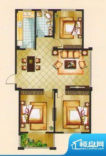 名城景园户型图7-甲-01 3室2厅面积:107.06平米