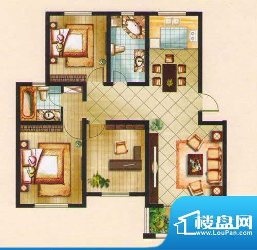 名城景园户型图2-甲-02 3室2厅面积:116.69平米