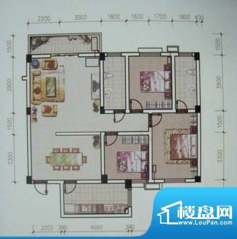 荆州花园二期B户型面面积:139.00m平米