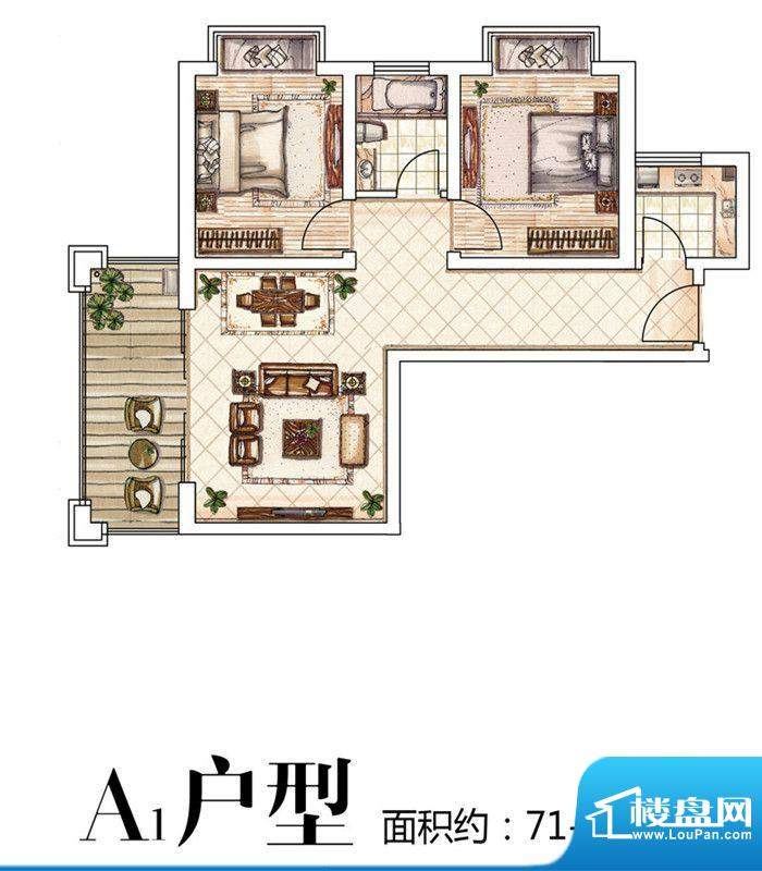 中豪·优活城户型图户型图 2室面积:81.00平米