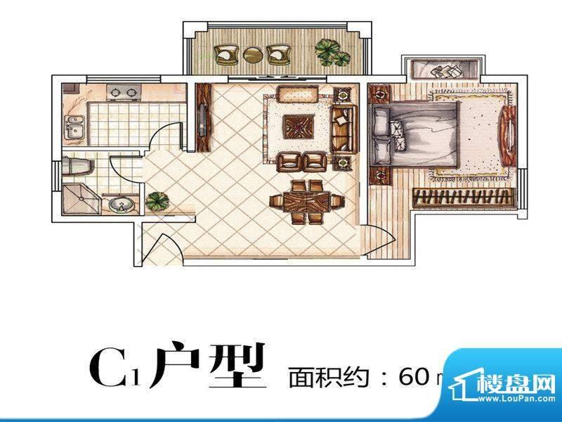 中豪·优活城户型图户型图 1室面积:60.00平米