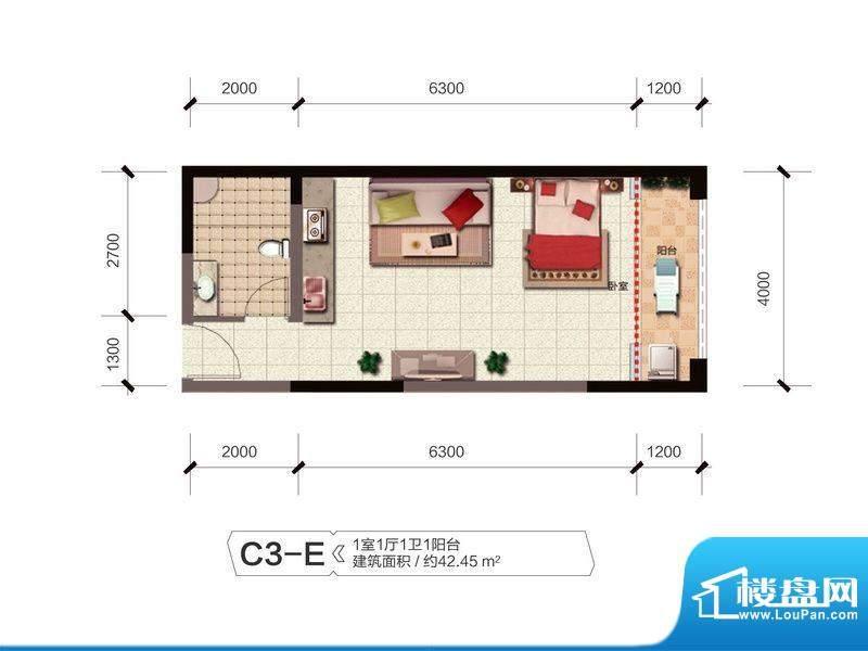 融城优郡户型图C3-E户型 面积:42.45平米