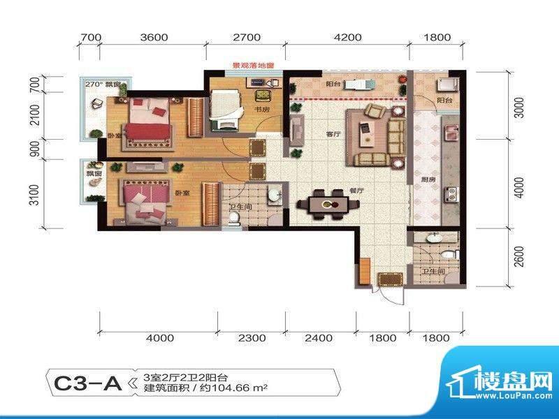 融城优郡户型图C3-A户型 面积:104.66平米