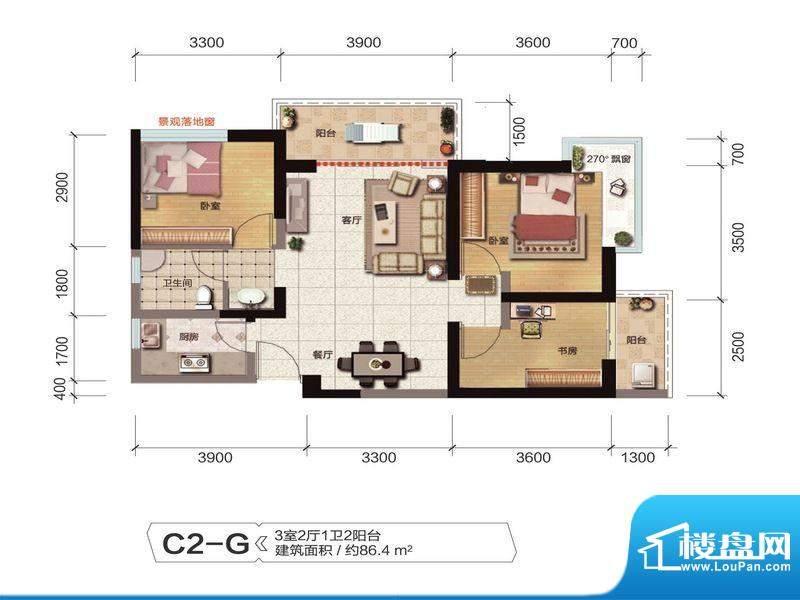 融城优郡户型图C2-G户型 面积:86.40平米