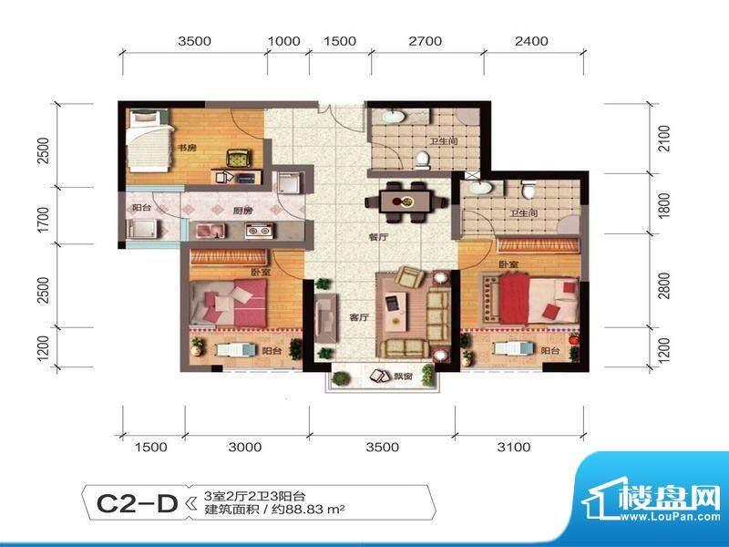 融城优郡户型图C2-D户型 面积:88.83平米