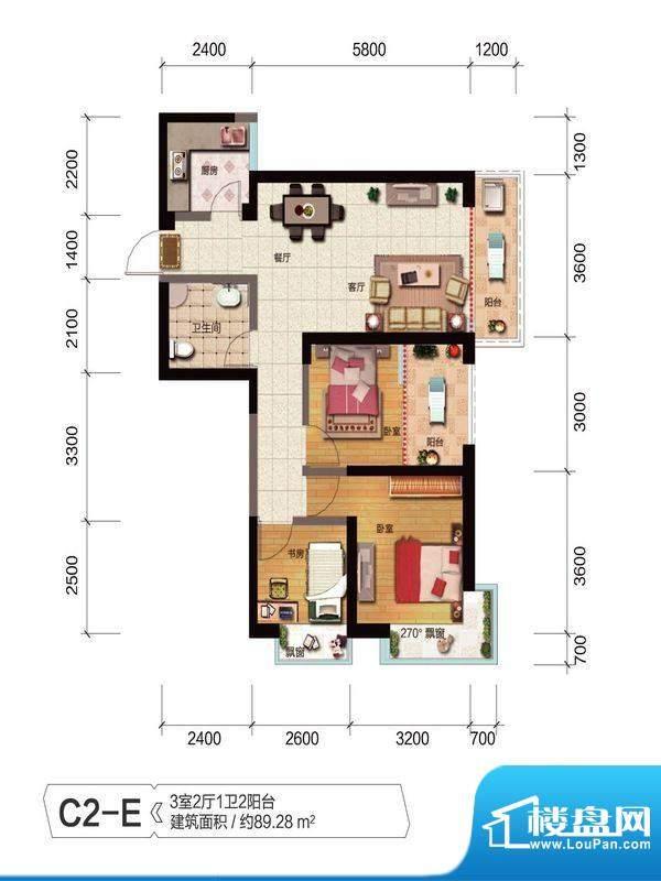 融城优郡户型图C2-E户型 面积:89.28平米