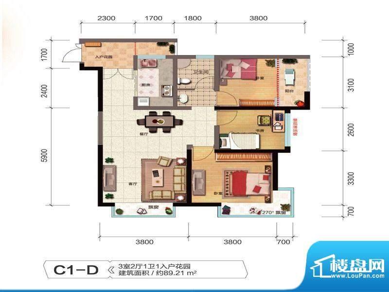 融城优郡户型图C1-D户型 面积:89.21平米
