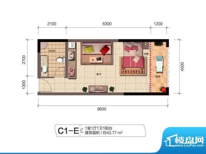 融城优郡户型图C1-E户型 面积:43.77平米