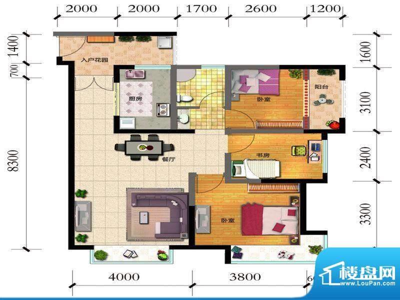 融城优郡户型图C3-D户型图 3面积:88.57平米