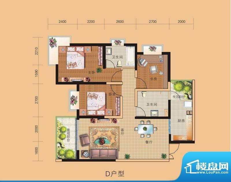 山水融城户型图d户型 3室2厅2卫面积:100.82平米
