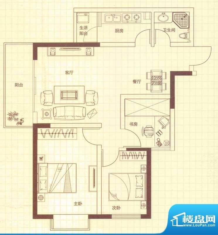 润城户型图A户型 3室2厅1卫1厨面积:89.00平米